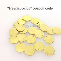 20 pcs 1 hole, 10mm,shiny brass, Brass blank tags, Bracelet coin disc, Not easily tarnish, , AG20118 Coin disc, by Argentbead on Etsy