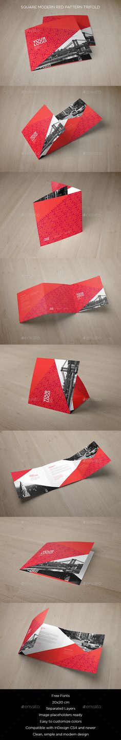 Square Modern Red Pattern Trifold