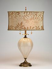 Kinzig Laura table lamp has a creamy colored, hand blown glass base, with a latte and cream oval shade, in a leaf pattern design. It is a neutral colored lamp. Engraved signature on bottom. Glass bead pulls and finial. Handmade in the USA. Estilo Kitsch, Vintage Lamps, Lamp Design, Design Table, Lampshades, Hand Blown Glass, Home Lighting, Decoration, Lamp Light