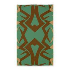 Blue and Brown Tribal Pattern Area Rug