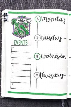 Want to add a Slytherin weekly spread to your bullet journal? Check out these 24 awesome Harry Potter bujo pages for ideas! Bullet Journal School, Bullet Journal Harry Potter, Harry Potter Planner, Bullet Journal Notebook, Bullet Journal Spread, Bullet Journal Layout, Bullet Journal Ideas Pages, Bullet Journal Inspiration, Book Journal