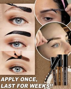 🥺No need to visit a salon💁♀️Wake up to evenly-filled brows with Brow Tattoo Gel Tint 💃Simply apply & peel off 💃Lasts up to 2 weeks Eyebrow Makeup Tips, Beauty Makeup Tips, Beauty Make Up, Skin Makeup, Beauty Skin, Makeup Tricks, Eye Make Up, How To Make Up, Makeup Makeover