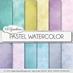 Pastel Watercolor digital paper PASTEL WATERCOLOR by Artfanaticus  My backgrounds, textures, digital paper and clip art can be used for just about any project. Add some additional artistic style to your photo albums, photography projects, photographs, scrap booking, weddings, invitations, greeting cards, gift wrap, labels, stickers, tags, signs, business cards, websites, blogs, parties, events, jewelry & more.  For more digital papers, please visit Artfanaticus at…