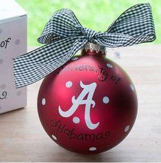 "4"" University of Alabama Logo Glass Keepsake Ornament with Gift Box"