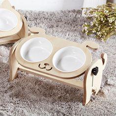 Small Medium Dog Cat Feeding Stand / Raised Wooden Elevated