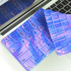 Abstract Cotton Candy Blue Aurora Silicone Keyboard Cover for Macbook fit for the Latest Macbook White Unibody 13 Macbook Pro 13 15 17 with or without Retina Display / New Macbook Air 13 and Wireless Keyboard Macbook Pro Keyboard Cover, Calcomanía Macbook, New Macbook Air, Keyboard Stickers, Computer Keyboard, Keyboard Keys, Computer Cover, Laptop Covers, Coque Ipod