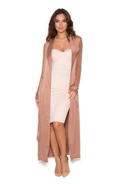 a9043033616a7 Clothing : Jackets : 'Coryn' Rose Gold Silky Duster Coat Gold Long Sleeve  Dress