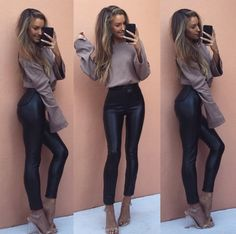ideas for party outfit night winter leather pants party 35 most beautiful party outfit night club ideas to try in this winter Leather Trousers Outfit, Black Leather Pants, Outfits With Leather Pants, Leather Jeans, Legging Outfits, Night Outfits, Winter Outfits, Fashion Outfits, Black Jeans Outfit Night