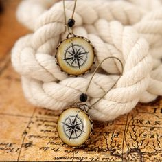 Vintage Compass Earrings - Nautical Jewelry - Long earring - Summer Fashion Jewelry - Free Shipping. $24.00, via Etsy.