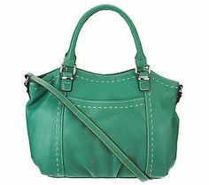 Get the best of both worlds with this great #Emerald Tignanello Pebble Leather Convertible Satchel, equipped with both double handles & a shoulder strap. #ColoroftheYear