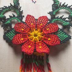 Red ROMINA mexican beaded necklace handmade by por ArtesaniaHUICHOL