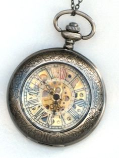 Steampunk DELUXE SHERLOCK Pocket Watch Mechanical Chain on eBay!