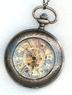 Steampunk DELUXE SHERLOCK Pocket Watch Mechanical Chain on eBay!