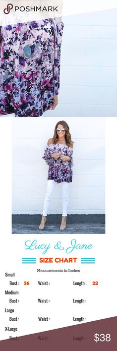 NEW - Flowers & Fun in Purple Beautiful Off The Shoulder Top with Floral Pattern. Also available in Red. Perfect for Vacation, Coachella, Honeymoon, Ect. No Trades No Mercari No Off Posh Sales Crazy Low Offers Will Be Declined Tops