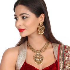 Antique Necklace 58404R #Kushals #Jewellery #Fashion #Indian #Jewellery #Necklace #Earrings #Designer #Fashion #choker #chain #Antique #Bridal #Festive #wedding