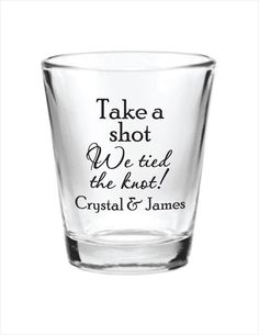144 Custom 1.5oz Wedding Favor Glass Shot Glasses Personalized NEW 2015 Wedding Favors by Factory21 on Etsy https://www.etsy.com/listing/176706928/144-custom-15oz-wedding-favor-glass-shot