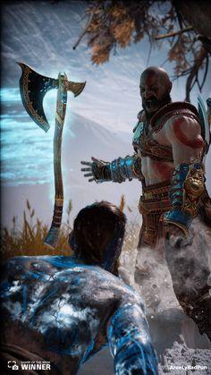 Kratos w/ his Leviathan axe vs Baldur God Of War 3, Kratos God Of War, Tao, Naruto Wallpaper, Video Game Art, Digimon, Game Character, Santa Monica, Anime