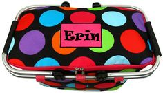 $19.95 Big Multi Dot Collapsible Insulated Market Basket with Lid  (Shown with Optional Applique Personalization)