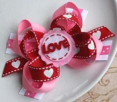 Valentine's Day Hair Bow Hair Clip Red Pink Boutique by Beagonza, $5.99