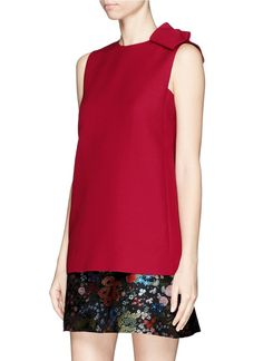 Valentino Asymmetric Bow Wool-silk Crepe Couture Top in Red | Lyst