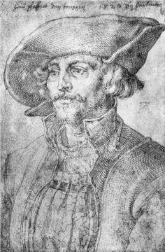 Portrait of Hans Pfaffrot of Gdansk, Durer,   Brim of hat appears to show a dart