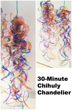 """"" 30 minute chihuly chandelier project by art educator Jackie Hwang/Mingei Museum. """" 30 minute chihuly chandelier project by art educator Jackie Hwang/Mingei Museum. Group Art Projects, School Art Projects, Collaborative Art Projects For Kids, Tiny Flower Tattoo, Club D'art, Chihuly Chandelier, Blown Glass Chandelier, Classe D'art, Atelier D Art"