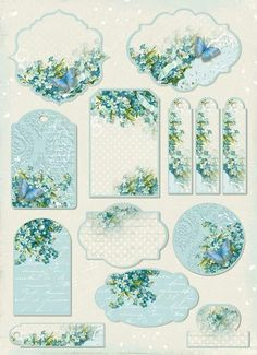 Blue floral and butterfly tags