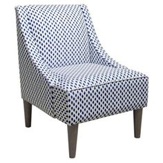 Check out this item at One Kings Lane! Quinn Swoop-Arm Chair, Navy Dots