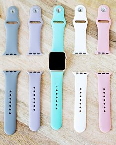 Soft Silicone Apple Watch Bands,all colors . Click the link to buy . Cute Apple Watch Bands, Gold Apple Watch, Apple Watch Faces, Apple Watch Price, Apple Watch Colors, Apple Watch Accessories, Iphone Accessories, Apple Logo, Cool Watches