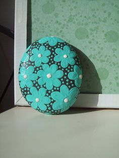 Seafoam Daisy Hand Painted Stone by CheeryGiftsAndDecor on Etsy, $10.00