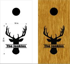 Family Name Hunting Buck Deer Cornhole Board Vinyl Decal Sticker Graphic Bean Bag Toss 02