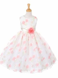 Off-White Floral Organza Dress w/ Sash Style: Sleeveless bodice Removable flower at waist Crinoline layer & lining within Zipper closure w/ irremovable satin tie back sash Tea length Kiki Kids 6339 Made in the USA Organza Flowers, Organza Dress, Wedding Organiser, Cheap Flower Girl Dresses, Special Dresses, Tea Length Dresses, Bridesmaid Dresses, Wedding Dresses, Dress For You
