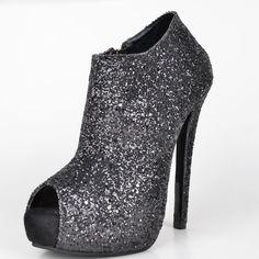 89.00$  Buy now - http://alifyx.worldwells.pw/go.php?t=32589576519 - Fashion Black Glitter Women High Heel Peep Toe Spring Short Boots Stilettos Handmade sapatos femininos 2015 Thin High Heels 89.00$