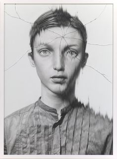Cracked portrait #1, pencil on paper, glass - Frantic Gallery