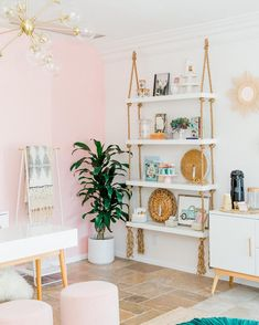 Pink and white room with a beautiful indoor plant as a touch of greenery