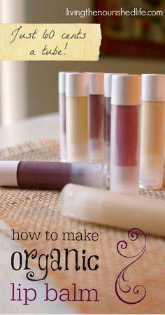 How to Make Organic DIY Lip Balm - recipe from http://www.livingthenourishedlife.com/2015/02/make-lip-balm-recipe