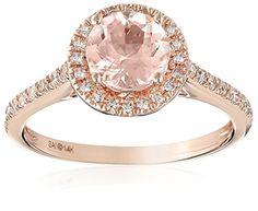 14k Pink Gold Morganite and Diamond Engagement Ring