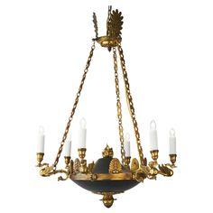 Bronze Empire Style Chandelier From France