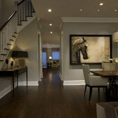 dark hardwood floors grey walls. Floors and wall color Honore Transitional Dining Room  contemporary dining room chicago by Michael Abrams Limited Dark wood floor light grey walls white trim Home Color