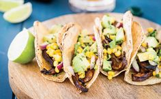 Avocado Portabello Tacos Beer-marinated portabellos and creamy avocado salsa come together for one helluva meatless taco. If you're anything like us, these flavorful and easy-to-make tacos—from Kri… Vegan Mexican Recipes, Veggie Recipes, Vegetarian Recipes, Healthy Recipes, Vegetarian Lifestyle, Veggie Meals, Cooking Recipes, Peta, Cilantro