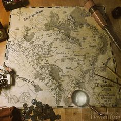 The Dwendalian Empire 2 - Cartography by Deven Rue - Matt Mercer - Critical Role Fantasy Map Making, Fantasy World Map, Fantasy Art, Voyage Sketchbook, Rpg Map, Old Maps, Antique Maps, Map Design, City Maps
