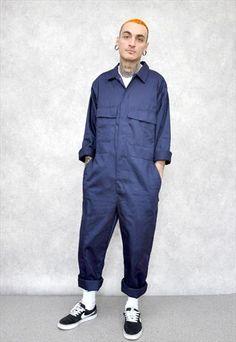Asos Denim Boiler Suit With Badges In Mid Blue Men Jeans
