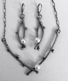 SCJJewelryDesign.etsy.com Sterling silver twigs and pearl necklace and earring set.