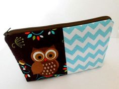 Happy Owls with Chevron OOAK Cosmetic Bag Large ECO Friendly Padded Flat bottom zipper pouch by JPATPURSES, $18.00