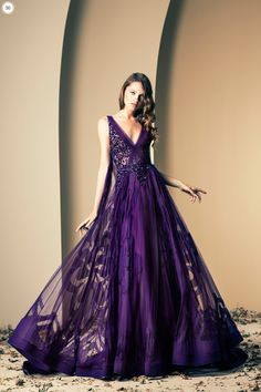 Lebanese fashion designer Ziad Nakad unveiled his new Haute Couture fall/winter 2013 collection of gorgeous evening dresses and gowns. Purple Gowns, Purple Dress, Purple Lace, Purple Ballgown, Periwinkle, Pink Purple, Dream Dress, I Dress, Dress Prom