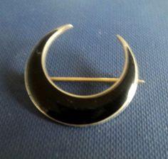 Norwegian Silver & Black Enamel Crescent Brooch c.1920s - Marius Hammer Norway
