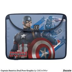 Captain America Dual Pose Graphic Sleeve For MacBook Pro. Regalos, Gifts. #fundas #sleeves