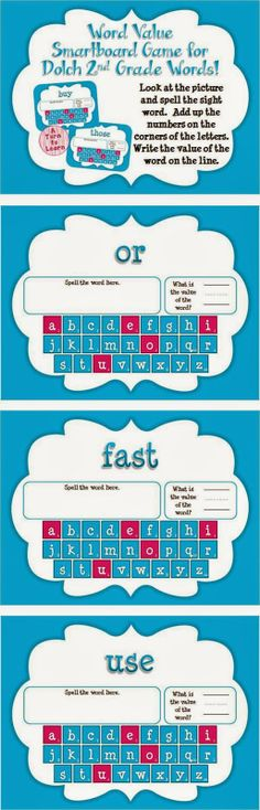 Word Value Game for Dolch 2nd Grade Words - Smartboard or Promethean Board!