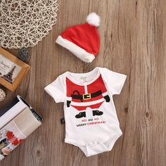 >> Click to Buy << Cute Newborn Baby Girl Boy Clothes Cotton Bodysuits Christmas Hat 2pcs Cute Outfits Set Clothes #Affiliate