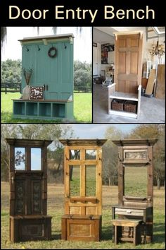Old door bench entryway shelves 44 Ideas Old Door Projects, Furniture Projects, Diy Furniture, Old Door Crafts, Easy Diy Projects, Antique Furniture, Refurbished Furniture, Furniture Makeover, Old Door Bench